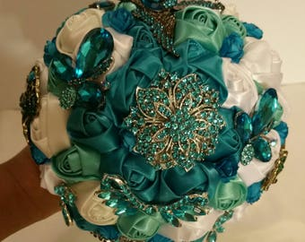 Beautiful Teal white sage and off white Brooch Bouquet