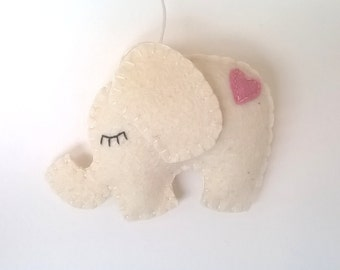 Felt elephant ornament - White elephant with pink heart - felt ornaments - Christmas ornaments - it's a girl - Housewarming - home decor