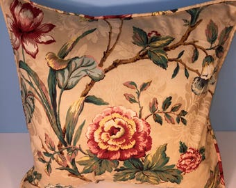 """18x18"""" Decorative Corded Pillow Cover - Pink and Green Floral"""