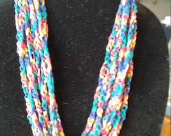 Crocheted ribbon yarn necklace