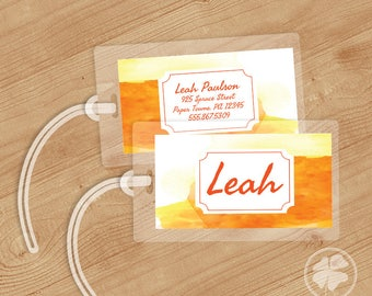 Watercolor - Luggage Tag, Bag Tag, Backpack Tag, ID Tags, Personalized, Custom - Tangerine Sunrise