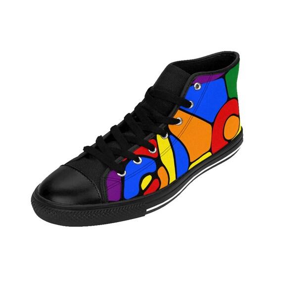 Lesbian Glass Womens Gay Gay Bisexual Pride Hightop Pride Rainbow Transgender Sizing Flag Stained Sneakers Queer Lgbt qIR7dXw