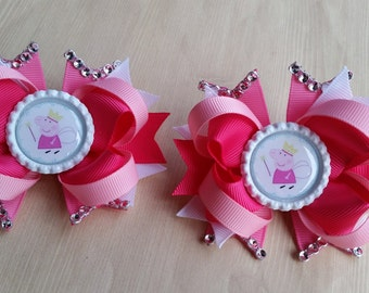 Peppa Pig princess fairy hair bows. Set of 2. Perfect for piggy tails :)