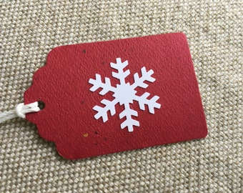 Rustic Red Snowflake Holiday Gift Tags - Scandinavian