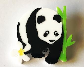 Laser Cut Acrylic Panda Brooch - Bear Jewellery - Perspex accessories - plastic Brooch - Giant Panda