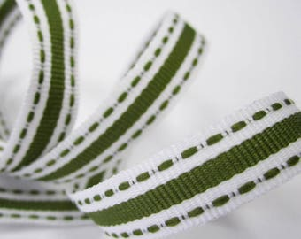 3/8 inch / 10mm grosgrain ribbon - solid stripe and dashed stitched edges - khaki olive green