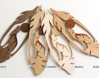 Howling Wolf Feather Bookmark, Wood Bookmark, Bookmark Exchange, Laser Cut Bookmark, Bookmark, Unique Bookmark, Wolf Gift