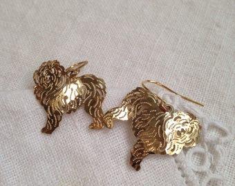 Vintage Wild Bryde Sheepdog Dangle Earrings 14 KT Gold Plate
