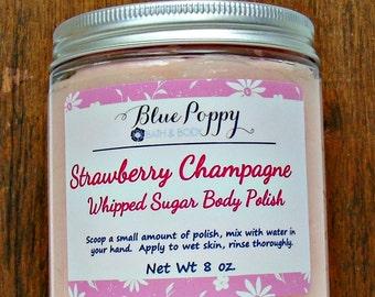 Strawberry Champagne Body Scrub, Whipped Sugar Scrub Body Polish, Whipped Scrub, Moisturizing Skincare, Emulsified Scrub, New Mom Gift