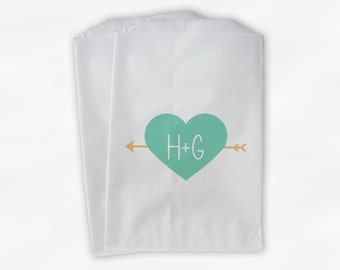 Arrow Heart Candy Buffet Bags in Light Teal and Peach - Personalized Initials and Wedding Date Custom Favor Bags - Paper Treat Bags (0123)