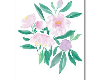 Instant download, watercolor flowers, gift for, watercolour painting, digital file