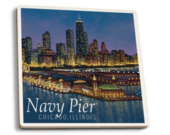 Navy Pier and Chicago Skyline - LP Artwork (Set of 4 Ceramic Coasters)