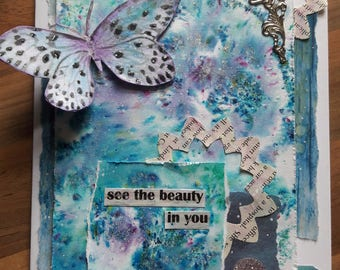 Butterfly Mixed Media card in Blue and Purple