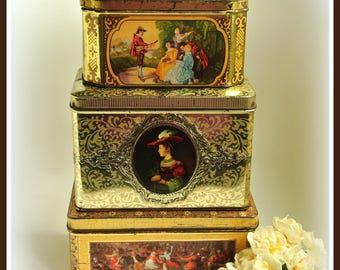 3 old romantic Dutch vintage tin containers with pictures from paintings art - antique- brocante - Holland  - 50's 60's 70's