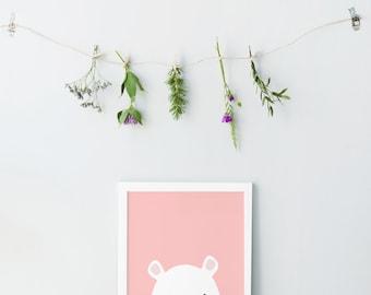 Bear print - Animal print - Pink nursery wall art - Printable nursery art - Baby animal prints - Baby room print - Baby girl nursery