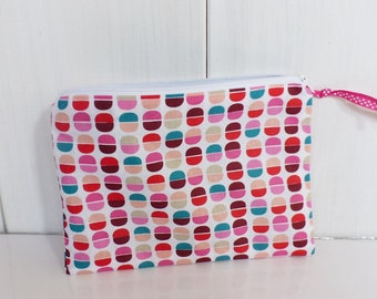 Cosmetic bag fabrics patterns Macarons inside and pink and turquoise green star
