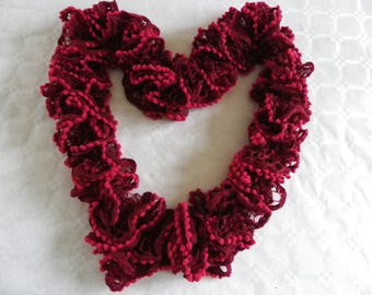 Red scarf with Ruffles and little pom poms for women