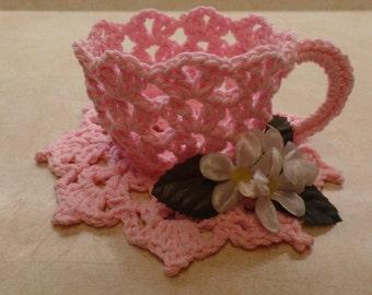 Easy Crochet tea cup pattern DIGITAL DOWNLOAD ONLY