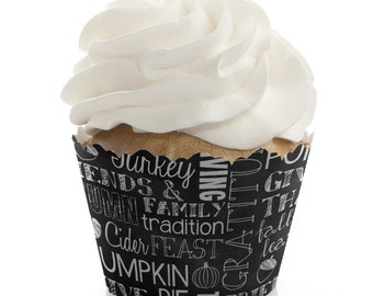 Give Thanks Cupcake Wrappers - Thanksgiving Cupcake Decorations - Fall Holiday Party - Set of 12 Cupcake Liners