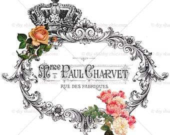 Furniture Decals Shabby Chic French Image Transfer Vintage Rose Crown  Advert Diy Old Home Craft Label Script Diy Scrapbooking Card Making