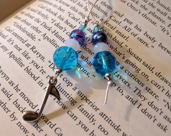Soprano - Music Eigth Note Aqua Purple Glass Beaded Bookmark Bookthong Christmas Stocking Stuffer