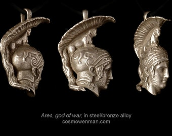 Ares, god of war, necklace pendant (profile)