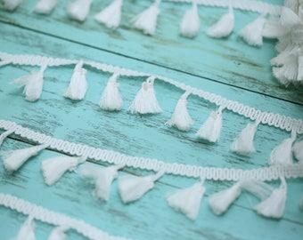 White Tassel Trim // White Tassel Ribbon
