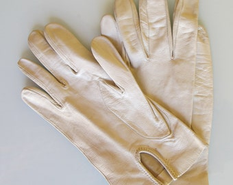 70s white cream leather gloves for women