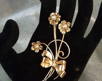 Vintage Coro  Sterling Flower ( Faux Pearl ) Brooch with Gold Wash