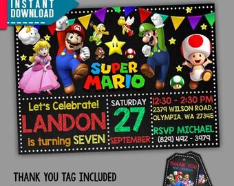 Super Mario Invitation, Super Mario Birthday, Super Mario, Editable PDF Template, Instant Download, Editable Invitation, FREE Thank You Tags
