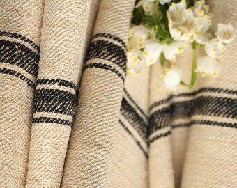 R 39 antique hemp linen tarest BLACK upholstery  tablerunner  5.02yards french lin benchcushion Beachhouse look