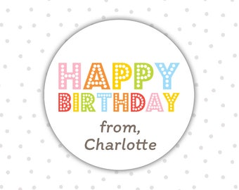 Happy Birthday stickers - Birthday stickers - Personalized birthday stickers - Gift stickers (RW106)