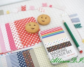 27 Sheets Masking Stickers in an Iron Box -- Korean Stickers -- Diary Stickers -- Basic Ver