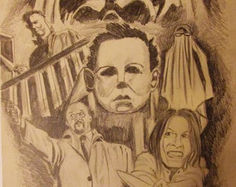 "Halloween Movie Pencil Drawing  16"" by 20"""