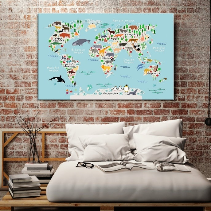 Animal world map for children and kids room decoration world map animal world map framed and ready to hang stretched gallery photo gallery photo gallery photo gallery photo gumiabroncs Choice Image