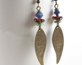 Boho Earrings - Leaf Earrings, Hammered Earrings, Brass Earrings, Lightweight Earrings
