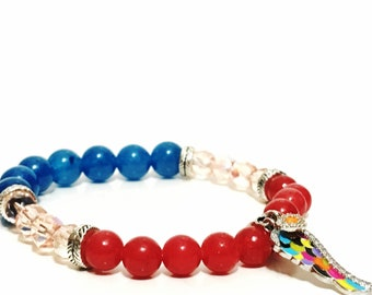Tropics, Sterling Silver, Jade and Czech glass beads Bracelet, cherry red, blue sea, and translucent pink, multicolor wing