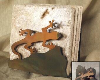 Natural Travertine Coasters w/ Organic Patina Holder - Gecko
