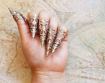 Stiletto nails dragon claw finger claws gothic vampire 10 silver stiletto nails gothic ring armor goth steampunk jewelry sharp nail claws solutioingenieria Gallery