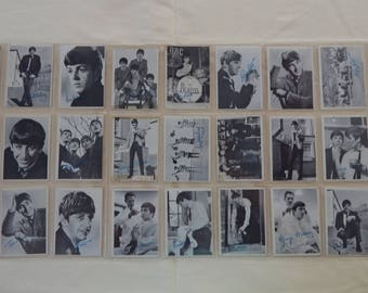 Vintage The Beatles Trading Cards Series 1 Black and White with Blue Box on Back Set of 28 Used Cards in a Plastic Trading Card Sleeve