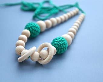 Green nursing rings necklace. Girls crochet necklace. Mammy and baby teething necklace.