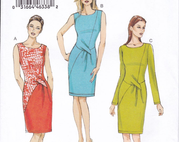 FREE US SHIP Vogue 9148 Sewing Pattern Dress Tuck Pleated 2016 Size 6/14 14/22 Bust 30 32 34 36 38 40 42 44 Plus Uncut