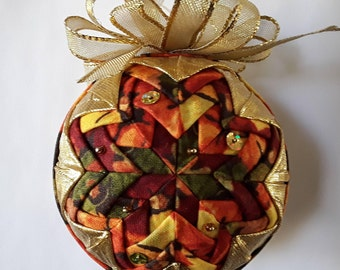 Fall and Gold Quilted Ornament 2 styles