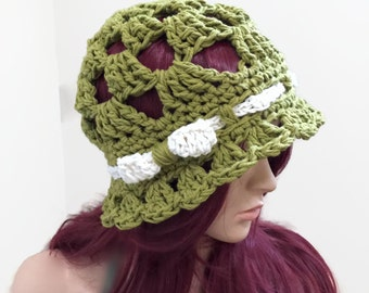 Beachside Sunhat in Summer Green 100 Percent Cotton - Crocheted with Band and Bow - Open Stitch for Summertime