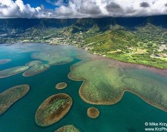 Aerial View of Kaneohe Bay, Oahu, Hawaii photo picture fine art metal print