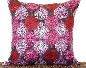 Floral Pillow Cover Cushion Modern Pink Black Red Leaves Decorative 18x18