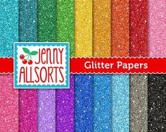 Glitter Digital paper Pack - 18 Sheets in Rainbow Colors - Instant Download