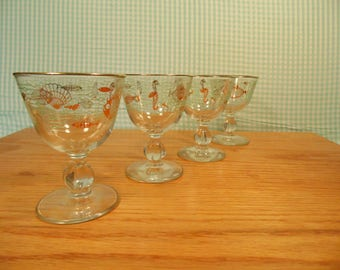 1950s Libbey Marine Life Liquor/Corial  Glasses -  Set Of 4 - 2 Oz. -