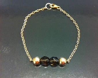 Bracelet gold filled 14 k with smoky quartz