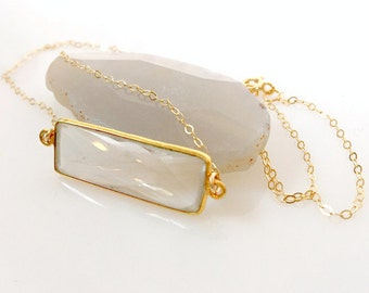 Crystal bar necklace, gold bar necklace, clear crystal jewelry, crystal rectangle necklace, gold geometric jewelry, layering necklace